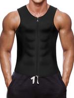 vücut şekillendirici gömlek erkek toptan satış-Erkekler Bel Eğitmen Yelek için Weightloss Sıcak Neopren Korse Vücut Şekillendirici Fermuar En Iyi Sauna Tank Top Egzersiz Gömlek Toptan