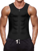 4xl westen großhandel-Männer Taille Trainer Weste für Weightloss Hot Neopren Korsett Body Shaper Zipper Beste Sauna Tank Top Workout Shirt Großhandel
