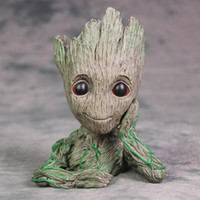 Wholesale green flowerpot - Avengers 3 Guardians of The Galaxy Flowerpot Baby Groot Action Figures Cute Model Toy Pen Pot Best Christmas Gifts For Kids B