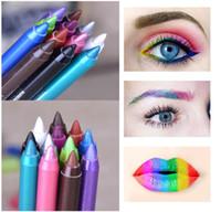 mavi mor renk toptan satış-Kadınlar için marka Güzellik Araçları Gözler Makyaj Dövme Su Geçirmez Pigment Renk Eyeliner Kalemler Jel Mavi Mor Beyaz Göz Kalemi