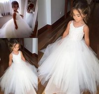 Wholesale cheap t shirts for kids - Cheap Spaghetti Lace And Tulle Flower Girl Dresses For Wedding White Ball Gown Princess Girls Pageant Gowns Children Kids Communion Dress