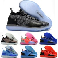 Wholesale kd shoes kids - 2018 New KD 11 Basketball Shoes Black Grey Persian Violet Chlorine Blue Sneakers 11s Designer Shoes kids Mens Trainers Shoes size 36-46