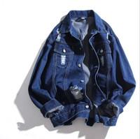 мужчины джинсовая куртка корейская оптовых-Korean Fashion Men's Casual Loose Denim Jackets and Coats Spring Autumn Turn Down Collar Ripped Jeans Jacket with Holes Outwear