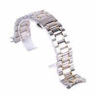 einstellbare verschlussschnalle großhandel-Original Luxus Uhrenarmband 20mm, 22mm Edelstahl Faltschließe Armband Link Armband einstellbar Stahl Schnalle Armbanduhr Band