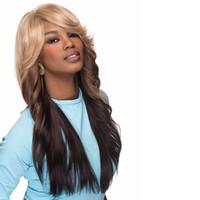 perücke alice großhandel-Zweifarbige lange Gerade Frisuren Afro Perücke mit Anti Alice Pony Synthetische Afroamerikaner Perücken für Frauen