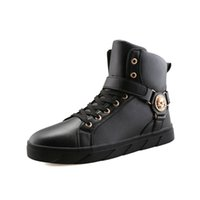 Wholesale korean style boots men - PP FASHION Men's Korean Style High Top Fashion Sneakers Basketball PU Leather Gym Training Running Stylish Casual Shoes Boots