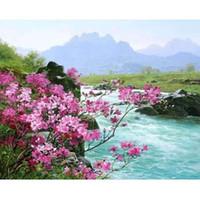 ingrosso kit di pittura unici-Frameless River Landscape DIY Digital Painting By Numbers Kit dipinto a mano pittura a olio regalo unico per la decorazione soggiorno