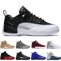 zapatos de baloncesto de los hombres de color azul oscuro al por mayor-Hot 12 12s hombres zapatos de baloncesto Wheat Dark Grey Bordeaux Flu Game The Master Taxi Playoffs University Gamma French Blue Wool Sports zapatillas de deporte