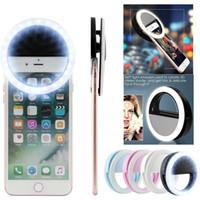 luz de la cámara para teléfonos flash al por mayor-La cámara recargable del clip de destello del anillo LED de la luz de Selfie para los teléfonos de HTC Samsung del iPhone con la caja al por menor