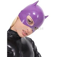borracha máscara zipper venda por atacado-Capuz De Látex de borracha Roxo Meia Máscara Facial Sem Zipper Cosplay Catwomen Partido Capuz LM138