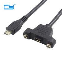 cabo de painel usb venda por atacado-Micro-USB 5pin Micro USB 2.0 Macho Conector para Micro 2.0 Cabo de Extensão Feminino 30 cm 50 cm Com parafusos Panel Mount Hole