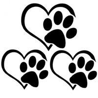adesivo de pata vinil venda por atacado-DHL livre Adorável Filhote de Cachorro Coração Paw Decalque Do Vinil Filhote de Cachorro Adesivos Reflexivos Etiqueta Da Janela Do Corpo Do Carro Preto 100 pcs