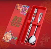 Wholesale red dinnerware - Stainless Steel Dinnerware Double Happiness Red Color Spoons Chopstick Sets Wedding Party Gifts For Guest SN1272