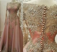 Wholesale special occasion dresses online - Glamorous Blush Dubai Formal Evening Dresses Long Sleeve Jewel Sweep Train Appliques Beaded Special Occasion Dress Prom Party Gowns