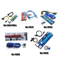 usb yükseltici kablo toptan satış-PCI-E Ver 006 006C 007S 008C 009 S Ver006C Ver008C Ver009S Express Yükseltici Kart 1x-16x USB 3.0 Kablo Için BTC Bitcoin Madenci DHL