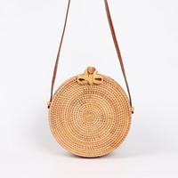 cuerpo circular al por mayor-Bolsas redondas de paja para mujer, bolso de ratán de verano, tejido a mano, bolso cruzado de playa, círculo, bolso de bohemia, Bali