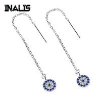 zincir kulak damlaları toptan satış-INALIS Yeni Gerçek 925 Ayar Gümüş Kulak Hattı Uzun Zinciri ile Temizle Mavi CZ Kristal Yuvarlak Kolye Dangle Bırak Küpe Kadınlar için