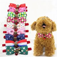 Wholesale dog collar leather fashion online - Bowknot Shape Tie Collar Dog Cat Puppy Collars Exquisite Pet Supplies Cute Lovely Fashion Necktie With Small Bell Creative zk jj