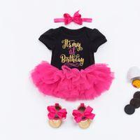 baby stirnband schuh groihandel-Baby Girl 1. Geburtstag-Prinzessin Tutu Röcke 0-24 Monate neugeborener Kind-Spielanzug kleidet Baumwollspielanzug + Rose Tutu Rock + Schuhe + Stirnband = 4PCS / Set