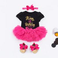 vestidos tutu princesa para bebês venda por atacado-Baby Girl 1st Birthday Princesa Tutu Saias 0-24 Mês Do Bebê Recém-nascido Macacão Vestidos de Algodão Macacão + Rose saia Tutu + Sapatos + Headband = 4 Pçs / set