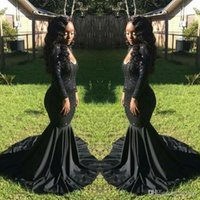 Wholesale Sweety Girls Dress White - 2017 sexy elegant cheap black girl prom dresses mermaid evening gowns formal dresses long sleeves sequined prom dress