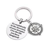 Wholesale compass keyring keychain resale online - Compass Keychain Go Confidently In The Direction Man Woman Self Improvement Keyring Key Buckle Gifts Pendant Hanging Decor yn bb