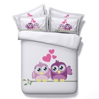 Wholesale owl bedding full for sale - Group buy 3D cartoon owl bedding sets heart romantic duvet cover bedspreads comforter cover Bed Linen Quilt Covers wedding bed cover for teens adults