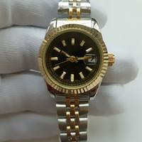 kadın kuvars bilekliği bayanlar elmas taklidi saatler toptan satış-Lüks Kadınlar Elbise Saatler 26mm Zarif Paslanmaz Çelik Gül Altın Saatler Yüksek Kalite Lady Rhinestone Kuvars Saatı
