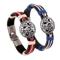 bracelets charmes achat en gros de-Charme en cuir corde tissée Bracelets Bracelets pour homme femme rond évider fleur couple bracelet bijoux garçons fille cadeau