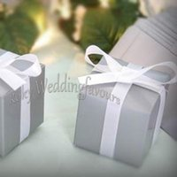 "ideas de decoración de la boda al por mayor-Free Shipping 50PCS 2""Grey Square Favor boxes Wedding Party Favor Holders Birthday Sweet Table Decor Event Anniversary Package Ideas"