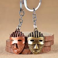 metal anahtarlık tasarımları toptan satış-Vintage Antik Bronz Çinko Alaşım Metal Zincir Diy 3D Yeni Tasarım Maske Anahtarlık Bölüm Maske Anahtarlık Hediye için Arkadaşlar Kolye