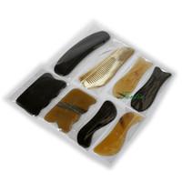 ingrosso anti corno-8 pz / set strumento tradizionale massaggio agopuntura guasha kit 100% giallo bue corno bufalo corno regalo bellezza bax gua sha chart