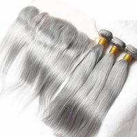 Wholesale Natural Grey Hair - 8A Malaysian Grey Virgin Hair Bundles with Lace Frontal Closure Pure Gray Straight Human Hair Weaves and 13X4 Lace Frontal Natural Hairline