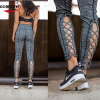 Wholesale cut out black leggings - Women Yoga Pants Black Cut-out Cross Gym Athletic Fitness Leggings Workout Tights Running Leggings Sports G-390