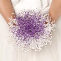 suni düğün buketleri mor toptan satış-Lüks Mor Kristal Düğün Buket Yapay Çiçek Boncuklu Gelin Buketleri gelinin Holding Çiçekler Boyutu 20 cm x 20 cm Ücretsiz Kargo