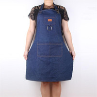 Wholesale milk tea shop online - New Creative Men And Women Waiter Milk Tea Shop Work Aprons Thickening Denim Apron Cook Coverall Simple Durable High Quality cl aa