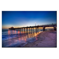 Wholesale canvas pier - Pier with Seascape Canvas Print Painting Beautiful Sunset Landscape Wall Art Poster for Living Room Decor 1 panel