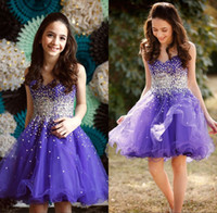 Wholesale White Bling Cocktail Dresses - Bling Sequins Short Mini Homecoming Prom Dresses for Sweet 16 Girls Sweetheart Zippr Back Cheap Special Occasion Cocktail Gown