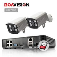 Wholesale Security Camera System Poe Outdoor - HD 4CH 1080P POE NVR Kit CCTV System 2Pcs 720P 1.0MP IP Camera IR Outdoor Waterproof P2P Security Surveillance Set