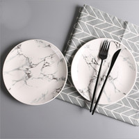 ingrosso piatti caldi-2018 Piatti di ceramica creativi per la casa Colore del marmo Rotondo Piatto di frutta Piatti di piatti Piatti Articoli da tavola Calda