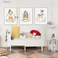 Wholesale cute picture frames - Cute Garland Indian Animal Bear Deer Fox Poster Nordic Kids Baby Room Wall Art Print Picture Home Decor Canvas Painting No Frame