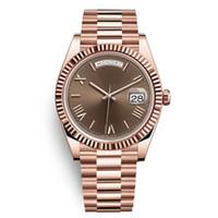 дама оптовых-DAYDATE желтый розовое золото часы мужские женщины роскошные часы день-дата президент автоматические дизайнерские часы механические Рома циферблат наручные часы Reloj