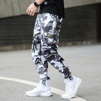 calças harem juvenil venda por atacado-Moda Camuflagem Estilo Punk dos homens Calças Basculador Juventude Streetwear Hip Hop calças de Brim Dos Homens de Bolso Grande Carga Calças Harem Calças Homme