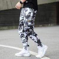 kot punk tarzı erkekler toptan satış-Moda Kamuflaj Punk Tarzı erkek Jogger Pantolon Gençlik Streetwear Hip Hop Kot Erkekler Büyük Cep Kargo Pantolon Harem Pantolon Homme