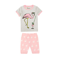100 Cotton Short Sleeve Flamingos Girls Pajamas Children s Summer Clothing  Baby Wears Kids Clothes for 1-8 Years Baby Nightwear 9475157e3