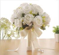 gelin için buket çiçekleri toptan satış-Zarif Gül Yapay Gelin Çiçekleri Gelin Buketi Düğün Buket Kristaller Yeni Buque De Noiva