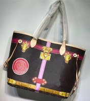 Wholesale bags free delivery - Women's printed handbag designer handbag vintage graffiti lock shopping shoulder clutch, free delivery