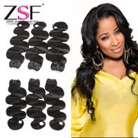 ingrosso prodotti per capelli cinesi naturali-ZSF I più venduti 8A prodotti cinesi capelli umani vergini, 3 bundles cinese onda di estensione del corpo umano pacchi di colore naturale