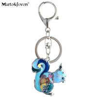 lindos llaveros para niñas al por mayor-MarteJoven Cute Squirrel Gift Keychains para Mujeres Chicas Multicolor Esmalte Ardilla Joyas Llaveros