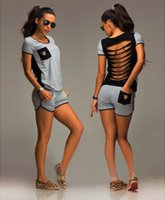 chemise noire pantalon gris achat en gros de-HOT 2018 femmes filles été noir gris Lettre shorts costume 2pcs mis manches courtes T-shirt Shorts pantalons rose Tenues Survêtement Sportswear